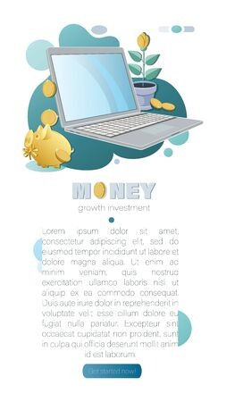Cash. Money background. Piggy bank, laptop, money tree with gold coins. Business concept. Vector illustration with coins, plant in a flower pot. Template for social networks, banner, presentation. Ilustracja