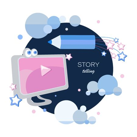 Story telling. Cartoon computer, space pencil, stars and clouds. Tell your story. Author. Blogging for children. Story time, fantasy stories. Creative writing, storytelling concept. Design for children's t-shirt, notebook cover, album. Illustration