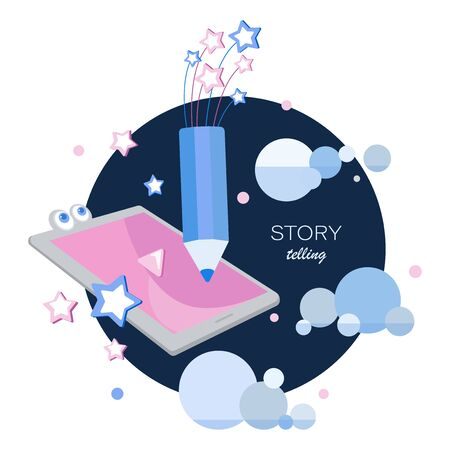 Story telling. Tablet, space pencil, stars and clouds. Tell your story. Emblem. Blogs for children. Story time, fantasy stories. Design for children's t-shirt, notebook cover, album.