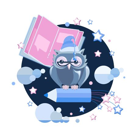 Notebook, owl, pencil, night sky. Bedtime story. Emblem. Tell your story. Story time, fantasy tales, fairy tales for children. Vector illustration for children's t-shirts, notebook covers, album.