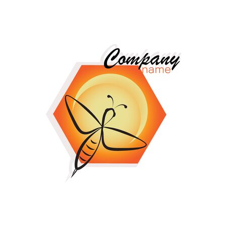 Honey bee, honeycomb. Concepts emblem. Bee icon. Honey flying bee. Insect.