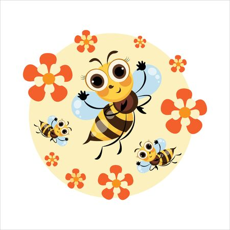 Honey bee. Swarm bees. Cartoon cute character. Emblem, sticker, label, mascot. Cartoon cute bee. Vector illustration isolated on white background for baby t-shirt.