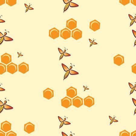 Swarm bees. Honeycombs. Bee pattern, background. Flying bee, honeycombs.
