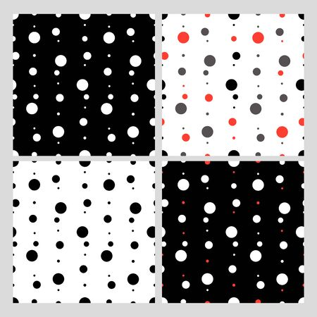 Dots, peas background. Set. Seamless background consisting of black, gray and red circles on a white, black background.