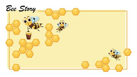 Bee Story. Honeycomb. Swarm of bees. Cute cartoon character. Poster. Cartoon cute bees.