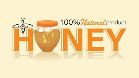 Honey jar, pot. Linear bee and inscription. Emblem, label. Organic food design concept. Vector i