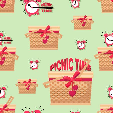 Picnic background. PICNIC TIME. Basket and alarm clock. Picnic in the park. BBQ time. Vector illustration
