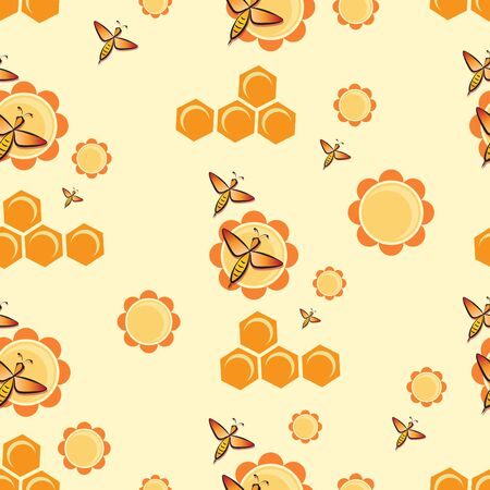 Swarm bees. Flowers, honeycombs. Bee pattern, background. Flying bee.