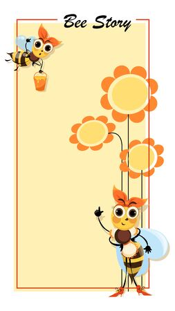 Hostess bee. Bee Story. Flowers honey. Swarm of bees collects honey. Poster with cute cartoon characters.