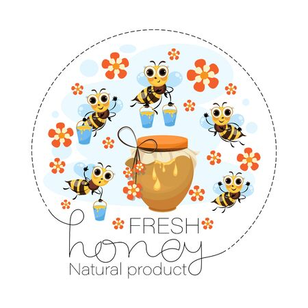 Fresh flower honey. Swarm of bees. Vector honey label, emblem. Funny cartoon characters