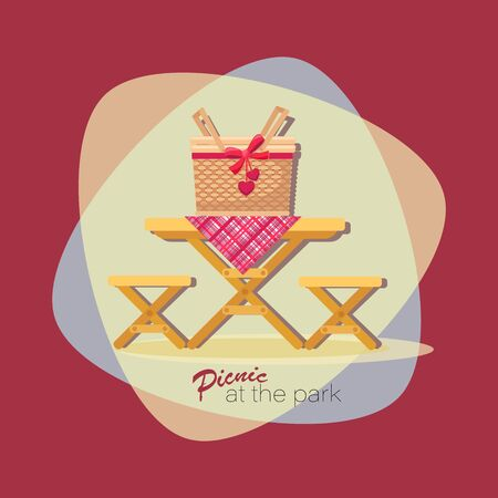 PICNIC TIME. Lunch basket. Picnic at the park. Vector flat illustration. Table with chairs. Emblem