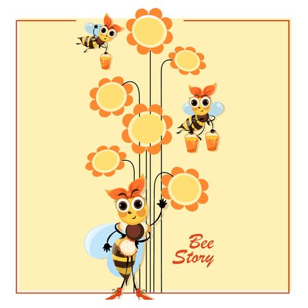 Hostess bee. Proprietress. Bee Story. Flowers honey. Swarm of bees collects honey. Poster with cute cartoon characters. Illustration