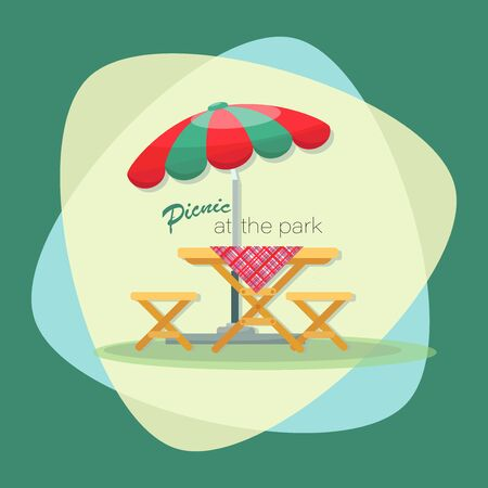 PICNIC TIME. Parasol. Picnic at the park. Vector flat illustration. Table with chairs. Emblem