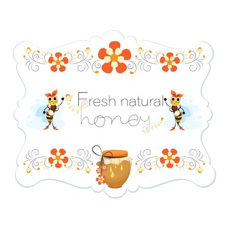 Natural honey. Honey label. Bees. Mistress is a bee. Vector honey labels, round   design Vettoriali
