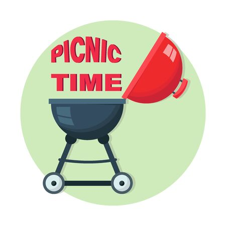 PICNIC TIME. Round grill. Picnic at the park. Barbecue icon. Electric grill. Device for frying food.