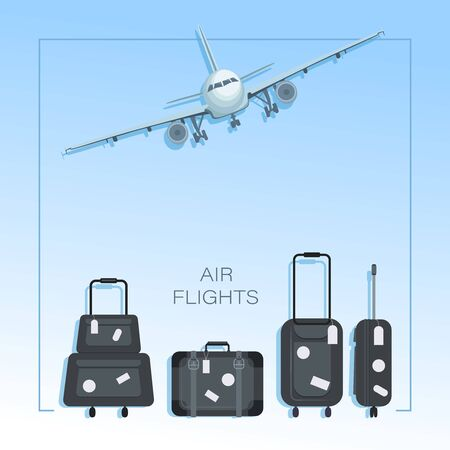 Air travel. Airplane, luggage. Poster, background with place for text. Flat style concept