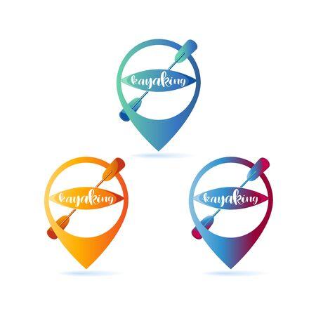 Kayaking. Location icon. Set. RIVER SPORTS. Road sign. Lettering. Design bright summer emblem with the inscription. Illusztráció