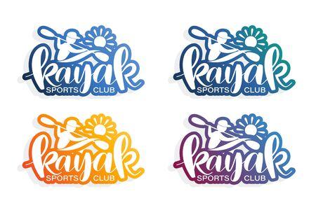 Kayak, kayaking. Emblem sports club. RIVER SPORTS. Set. Lettering.