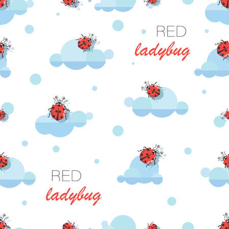 Ladybug. Cloud pattern. Vector cartoon character for childrens textiles. Cute red ladybugs