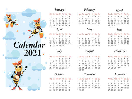 Bee, mistress. Calendar 2021. Vector cartoon character. Swarm of bees on a background of the sky