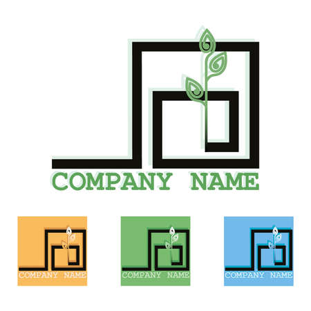 Sprout logo. Vector plant isolated. Set color logotype. Abstract emblems, templates for companies 向量圖像