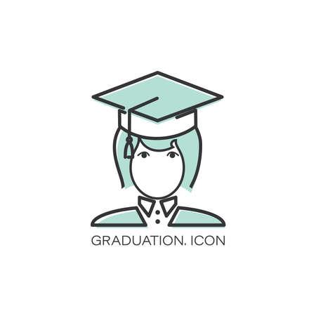 Vector graduation icon. Girl. Education, academic degree. Degree student faceless female avatar. Illusztráció