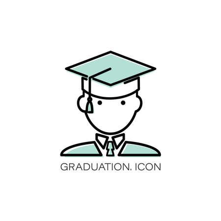 Vector graduation icon. Man. Education, academic degree. Faceless avatar. Outline symbol