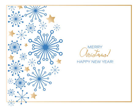 Christmas greetings. Winter holiday greetings with snowflakes and stars. Ornaments greeting card