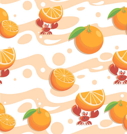 Red crabs. Sea ripe orange, juice. Seafood seamless background, pattern. Background image