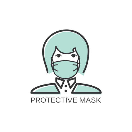 Face medical mask. Flu mask line icon. Girl in mask. PROTECTIVE MASK. Protection from coronavirus.