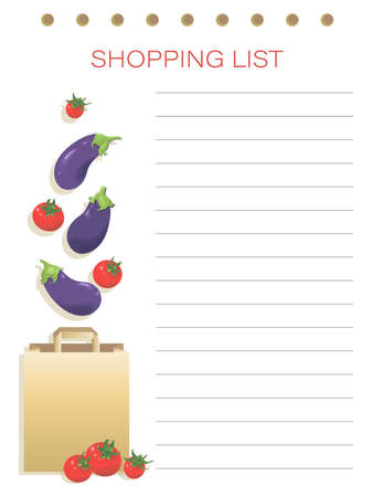 Eggplant, tomatoes. Shopping list. Vector personalized vegetables shopping list. Simple flat design