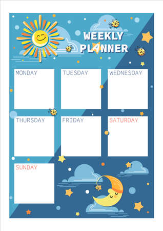 Weekly, daily planner. Space template. Design for childrens planning, organizer, notebook.