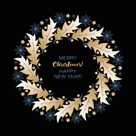Christmas wreath. Vector greeting card. Holly leaves and berries, stars and snowflakes