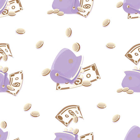 Lilac wallet, money pattern. Cash. Dollars signs, gold coins. Cash collecting billfold on white background. Illusztráció