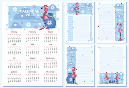 Calendar 2021. To Do List, note. Santa Claus. Vector cartoon character for childrens notebook