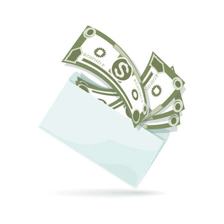 American dollars. Envelope full of cash. Money background. Banknotes with envelope