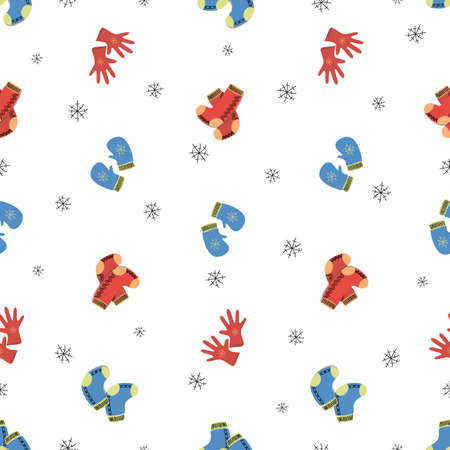 Winter mittens, socks. Vector background with elements of winter clothes isolated on white.