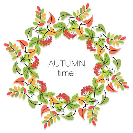 Autumn time. Red viburnum. Vector background. Poster. Concept fall template with autumn leaves