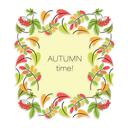 Autumn frame. Fall border. Autumn time. Vector background. Poster. Concept fall template.