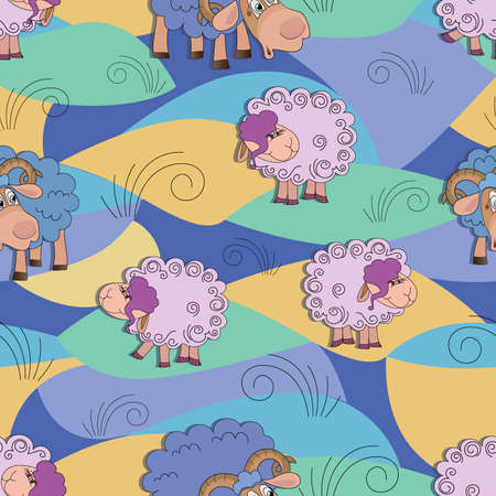 Cartoon rams, sheep graze. Vector childrens background. Cartoon ram graze in the meadow. Flat style.