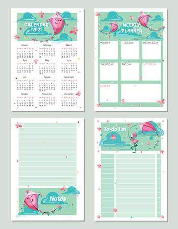 Weekly planning. Calendar 2021. Vector baby calendar. Notes. Page. Week starts on Sunday. Template design for children's planning, organizer, notebook. Vector kids illustration. Vector illustration 向量圖像