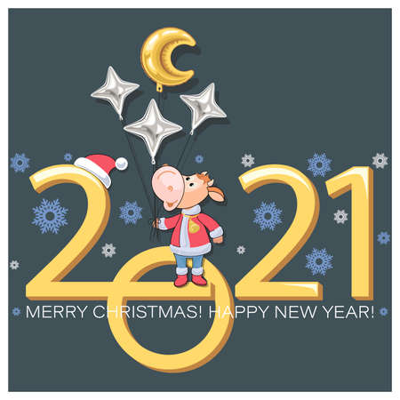 Bull. Year calf. Chinese symbol of New Year 2021. Merry Christmas. Little calf dressed as Santa Claus. Balloons in the shape of golden month, stars. Zodiac sign Chinese calendar. Vector illustration 向量圖像