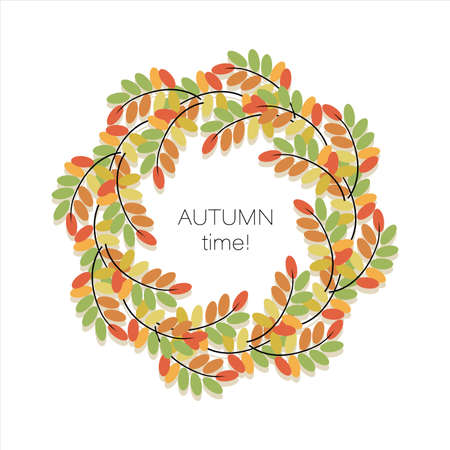 Autumn acacia leaves. Vector background, round frame, border. Autumn time. Poster. Concept template with swirling bright autumn leaves. Vector illustration  イラスト・ベクター素材