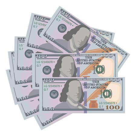 American 100 Dollar Bills. Vector money background. Dollar poster. Hundred money sign. Business Иллюстрация