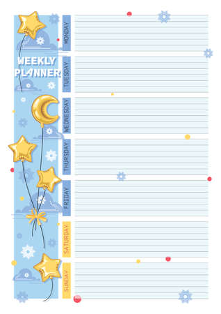 Weekly page. Planning. Month, balloon. Vector bright yellow balloons stars with Bow in the sky.