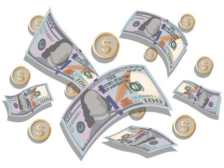 Dollar Bills. Coins. Vector money background. Hundred Dollar Bill, coins are flying white background