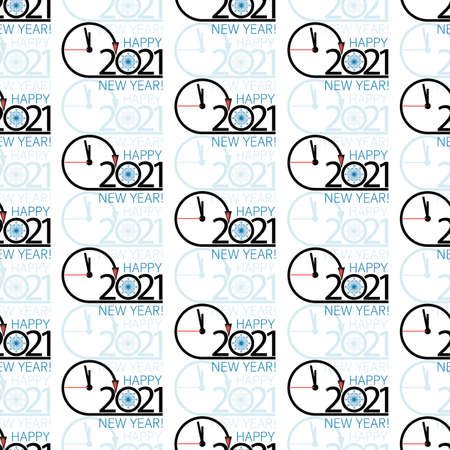Clock. Time. New Year 2021 background. Vector clock face with snowflake. Seamless pattern