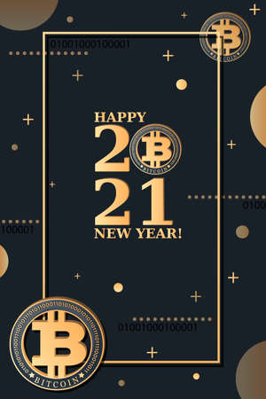 2021. BITCOIN. Greeting card, poster. New Year. Merry Christmas. Crypto currency coin and big numbers