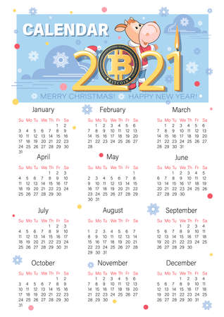 Bull Sanata Klaus. Bitcoin. 2021 calendar. Bullish candle. Chinese symbol of New Year. Cute calf.