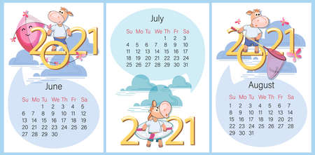 Summer calendar. June, July, August 2021. Set. Funny calf on background of large numbers. Year of the Ox. Summer rest, cute calf entertainment. Week starts on Sunday. Vector illustration.
